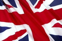 Close-up shot of wavy British flag