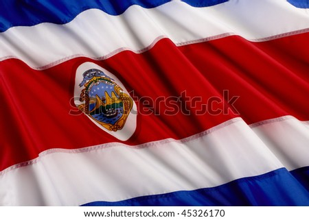 Close up shot of wavy Costa Rican flag