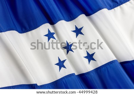Close up shot of wavy flag of Honduras