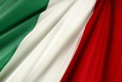 Close up shot of wavy Italian flag