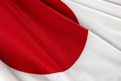 Close-up shot of wavy Japanese flag