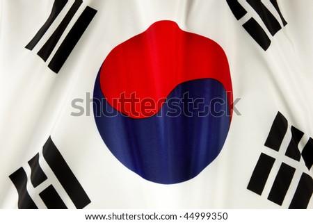 Close up shot of wavy Korean flag