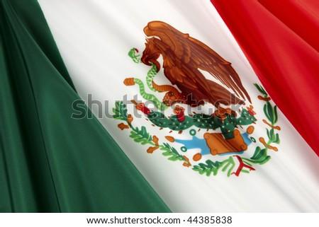 Close-up shot of wavy Mexican flag