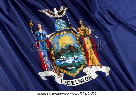 Close up shot of wavy New York state flag