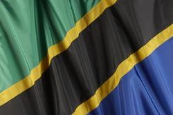 Close up shot of wavy Tanzanian flag