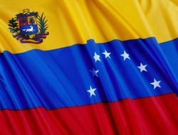 Close up shot of wavy Venezuelan flag