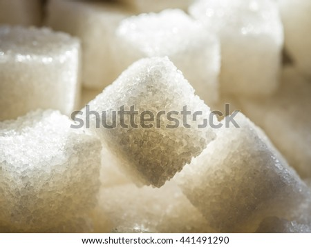 Close up shot of white refinery sugar. #441491290