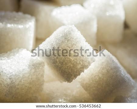 Close up shot of white refinery sugar. #536453662
