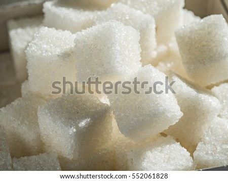 Close up shot of white refinery sugar. #552061828