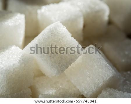 Close up shot of white refinery sugar. #659745841