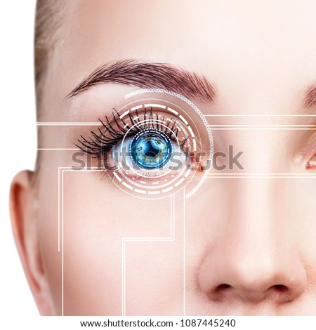 Close-up shot of woman eye in process of scanning. #1087445240