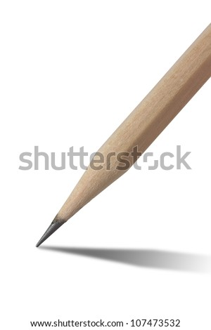 Close up shot of wooden pencil (clipping path)