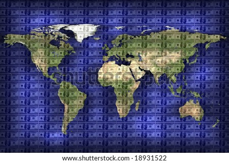 close up shot of world map on American dollar background