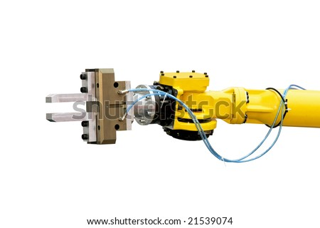 Close up shot of yellow robotic head isolated