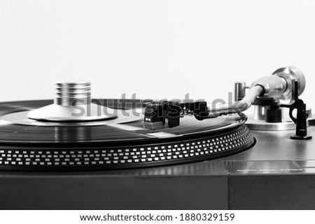 Close up shot Old turntable with Black and white Foto stock ©
