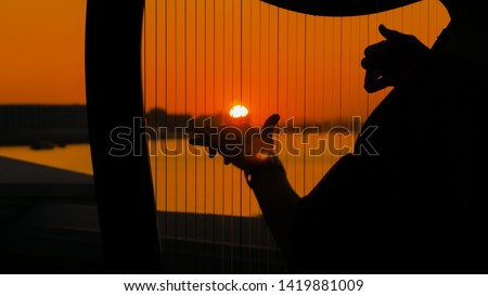 Close up shot - woman hands playing harp on city embankment at sunset. Music, leisure and culture concept #1419881009