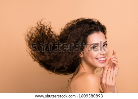 Close up side profile photo beautiful she her lady funky show head great result using shampoo hair cure recovery long wave hairdo flight pretty positive wear no clothes isolated beige background