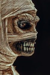 Close-up sideview portrait of a scary mummy on a black background. Halloween. Ancient Egyptian mythology.