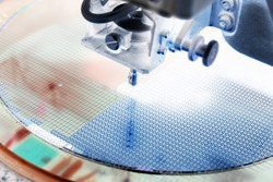 Close up silicon wafer negative color in semiconductor manufacturing