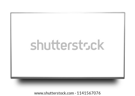 Close up silver 4k monitor or television isolated on white background with clipping path. #1141567076