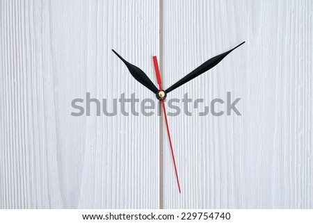 Close up simple clock or watch hands on white concrete wall displaying time o\'clock