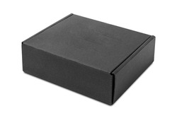 close-up single carton box isolated on white background, black parcel cardboard box for packages delivery. With clipping path