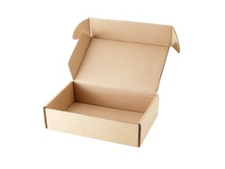 close-up single carton box open empty isolated on white background, brown parcel cardboard box for packages delivery