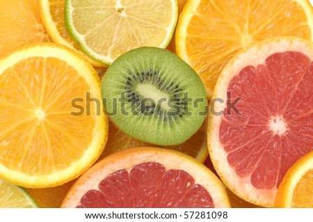 Close up sliced citrus collection