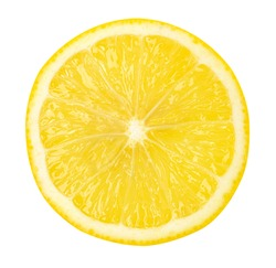 Close up,Sliced lemon fruit isolated on white background,with clipping path.