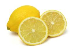 Close up,Sliced lemons fruit and lemon isolated on white background.