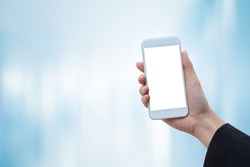 close up soft focus on business woman hand holding blank screen display smart phone on futuristic background for business and technology concept