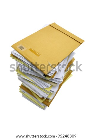 close up stack of papers isolated on white