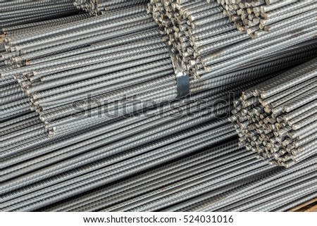 Close up stack of steel bar or steel reinforcement bar texture in construction site #524031016