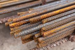 close up steel rebar for building texture in construction site