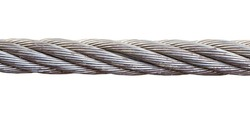 close up steel wire rope cable on white