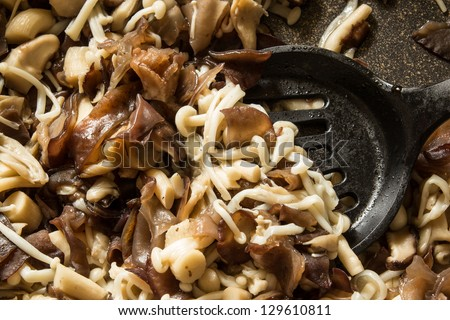 close up stir fried three kind mushroom : black fungus mushroom, enoki mushroom; shiitake mushrooms