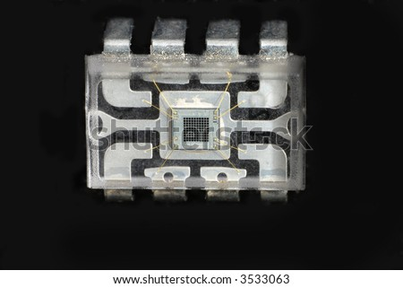 Close up stock pictures of the interior or a chip used in electronic devices - stock photo