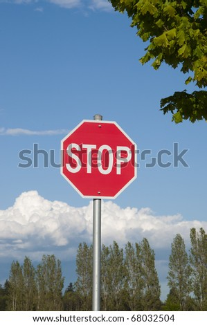 Close-up stop sign