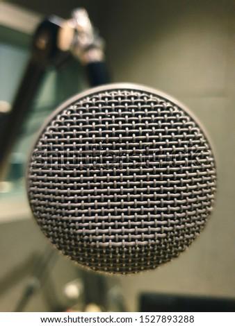 close up studio microphone in a studio