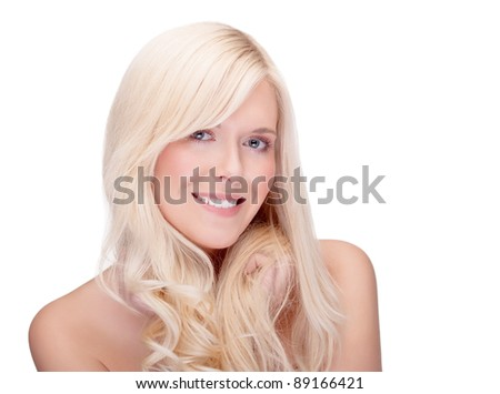 close-up studio portrait of young blond smiling - space for copy