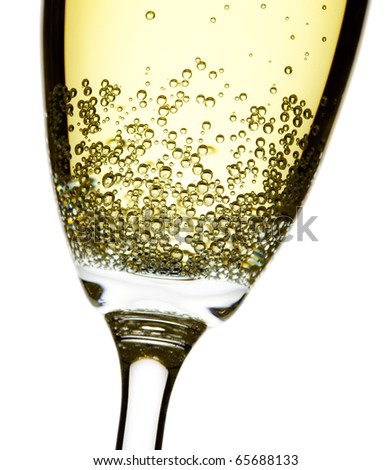 close up studio shot of champagne flute, isolated over white, focus on bubbles