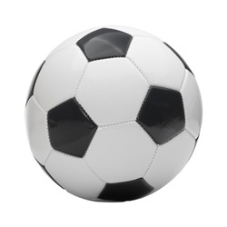 Close up studio shot of soccer ball on white background