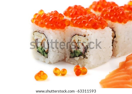 Close up sushi with red caviar  on a white background