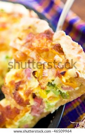 close up tasty home pie with pepper,broccoli and cheese - stock photo