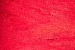 Close up Texture Red color paint on  canvas Brush marks stroke for paper graphic design on background