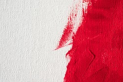 close up texture red color paint on white  canvas background