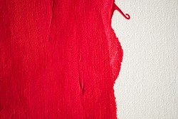Close up Texture Red color paint on white colour canvas Brush marks stroke for paper graphic design on background