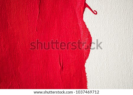 Photo of  Close up Texture Red color paint on white colour canvas Brush marks stroke for paper graphic design on background