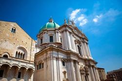 Close up. The Duomo Vecchio cupola  (the Old Cathedral dome) in sunny day on the square Piazza Paolo VI (Piazza del Duomo). The main catholic church of Brescia, Lombardy, Italy. Italian architecture.
