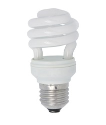 close up the energy saving lamp on a white background